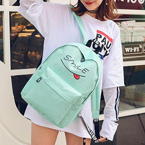 Longra Zaino di svago femminile, sacchetto di viaggio, zaino studentesco, 3 set Verde