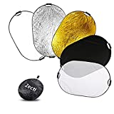 Réflecteur de Lumière,Zecti Pliable Réflecteur 5 en 1 Photographique 40x59 Pouces/ 100*150cm pour la Photographie de Studio (Translucide, Argent, Or, Blanc et Noir)