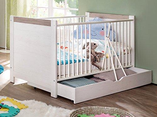 Preisvergleich Produktbild trendteam NBZ65056 Babybett Unterbett Auszug Rollbar Weiß Pinie Nachbildung, LxBxH 139x70x17 cm