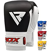 RDX BGL-T1-12oz, RDX Rindsleder Gel Sparring Boxhandschuhe Stanzen Handschuhe Trainings Muay Thai, Schwarz, 12oz