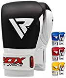 RDX Boxhandschuhe Muay Thai Boxsack Kickboxen Sparring Training Sandsack Rindsleder Boxing Gloves, Schwarz, 12 oz