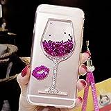 Artfeel Glitzer Flüssigkeit Hülle für Samsung Galaxy J6 2018, Glänzend Strass Fließen Treibsand Funkeln Sterne Weinglas Handyhülle,Ultra Dünn Kristall Weich Silikon Hülle mit Handschlaufe-Rosa