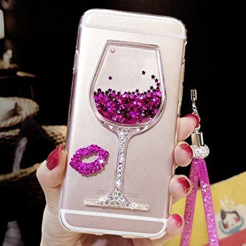 Artfeel Glitzer Flüssigkeit Hülle für Samsung Galaxy S9, Glänzend Strass Fließen Treibsand Funkeln Sterne Weinglas Handyhülle,Ultra Dünn Kristall Weich Silikon Hülle mit Handschlaufe-Rosa