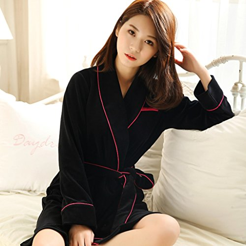 Bathrobe GJM Shop cotton with pockets Black Cotton Sexy Spring And Autumn Female Pajamas Nightgown Home Clothes S/M/L/XL -Long sleeve/Seven - p-Long/Seven - points/H