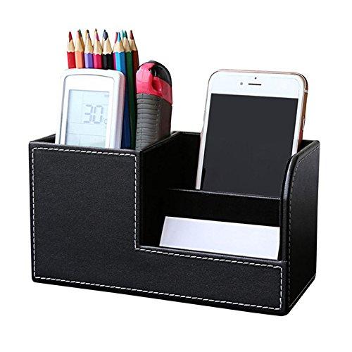 nizer, künstliche Leder Büro Pen-Halter ordentliche Business Card Handy-Fernbedienung Aufbewahrungsbox 20.3cm*9.3cm*11cm Schwarz ()