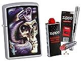 Zippo Mazzi Skull Snake mit Zippo Zubehör Auswahl und L.B Chrome Stabfeuerzeug (mit zubehör A)