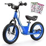 ENKEEO - 14'' Bicicleta sin Pedales, Bicicleta de Equilibrio, Entrenamiento Transicional en Bicicleta para lo Niños, Asiento Ajustable y Manillares Tapizados para Niños Pequeños de menos de 49'' 130 cm de altura, Azul