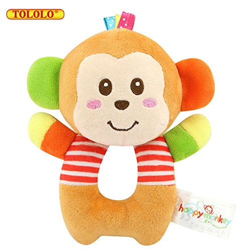TOLOLO Baby Toys Rattle Doll Animal Soft Plush Cloth Toys Early Education Hand Ring – Monkey 512GhOsTF6L