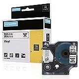 3x Nastro per Dymo 18443 Etichette Vinile Industriale, 9mm x 5,5m, Nero su bianco, Compatibile con Rhino Industrial 5200, 5000, 4200 Stampante per etichette