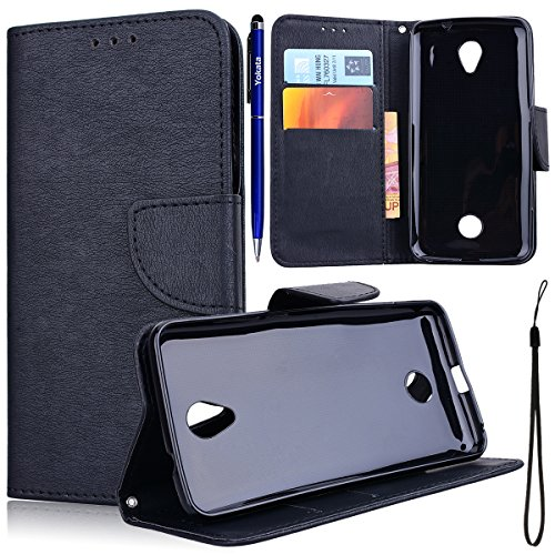 Yokata für Acer Liquid Zest 4G Hülle Leder Flip Karte Halter Schutzhülle Weich Silikon Schwarz Telefon Kasten mit Handy-Seil Protective Case - Schwarz