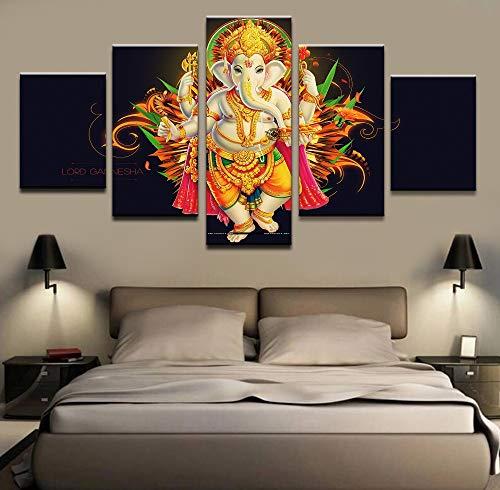 HOMOPK 5 Stücke Malerei Modulare Tapete HD Druck Auf Leinwand Wandkunst Wasserdicht Poster Bad Wohnzimmer Wohnkultur Bild Indien tibetische Ganesha C,Rahmen