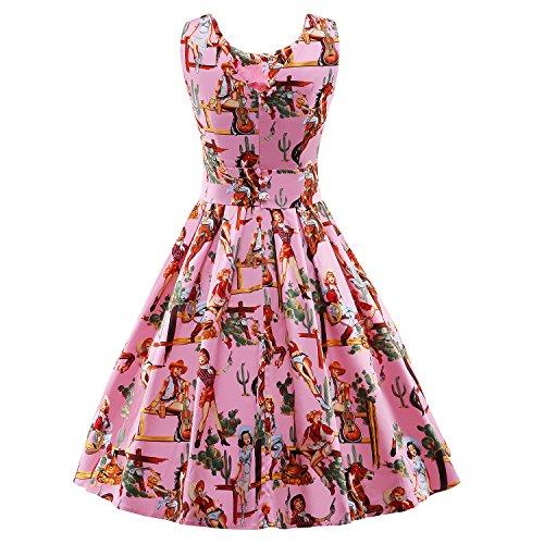 iLover Vintage Rockabilly gestreiften Kleid Hepburn Stil Partykleid Cocktailkleid 50er Jahr Abendkleid V023-Pink