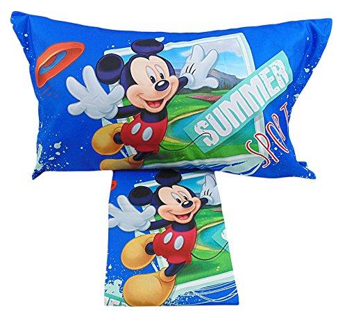 Disney Mickey Mouse Juego de sábanas funda de almohada para cama de matrimonio, color azul con diseño de Microfibra