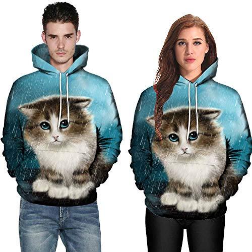 VECDY Herren Jacken,Räumungsverkauf-Herren Damen Männer Frauen Modus 3D Katze Drucken Langarm Paare Hoodies Top Bluse Shirts Exquisite Katze Paar Pullover(Weiß,38)
