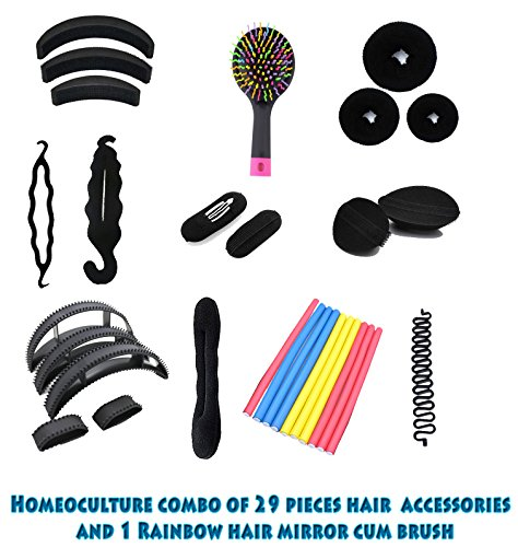 Homeoculture Combo of 30 hair accessories 3 Donuts + 1 Rainbow Mirror hair Brush + 1 Magic Puff + 2 volumizer + 3 Banana Bumpit + 2 Tictac Puff + 1 French twist Braid tool + 1 Puff Braid tool + 1 Juda maker + 10 Fem Hair rods + 5 Aseen on Tv Bumpits  available at amazon for Rs.699