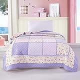 Alicemall Baumwolle Tagesdecke Einzelbett Decke Bettüberwurf Angenehm Atmungsaktive Steppdecke 150 x 200 cm (Romantisch Violett)