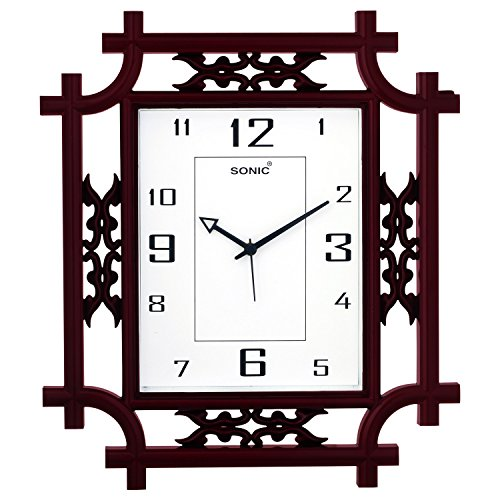 Sonic Square Brown Analog Wall Clock