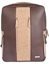 Veuza Milan Premium Jacquard And Faux Leather 14 Inch Choco Brown Laptop Backpack For Macbook/ Macbook Air