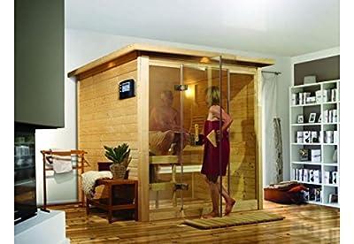 Alabasta 2 - Karibu Sauna inkl. 9-kW-Bioofen - mit Dachkranz - von Woodfeeling GmbH bei Du und dein Garten