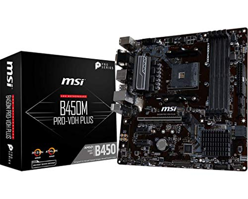 MSI B450M Pro-VDH Plus - Placa Base (Chipset AMD B450, DDR4 Boost, Realtek LAN, Audio Boost, HDMI, X-Boost, soporta AMD pocesadores) Color Negro