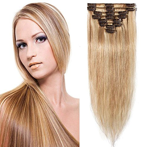 Clip in Extensions Echthaar günstig Haarverlängerung 8 Tressen 18 Clips Remy Human Hair 40cm-65g(#18/613 Hellgoldblond/Hell-Lichtblond)