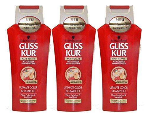 3 x Gliss Kur Hair Repair, Shampooing Ultimate Color colorés getöntes gesträhntes cheveux – 250 ml