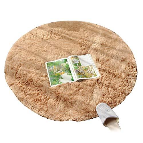 WYNZYDT Khaki Runde Teppich, Couchtisch Matte Schlafzimmer Hängenden Korb Teppich Computer Stuhl Kissen Runde Teppich Schminktisch Teppich (größe : 1m in Diameter)