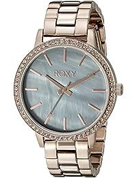 Los címbalos Roxy para mujer reloj infantil de cuarzo con esfera de madreperla analógica y correa de acero inoxidable de oro rosa y cristales RX/1010gmrg