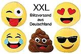 Bada Bing XXL Emoji Kissen 1015 Verliebt Herzen ø 50 cm Smiley rund gelb Sofa Couch Whats App Tongue Emotion