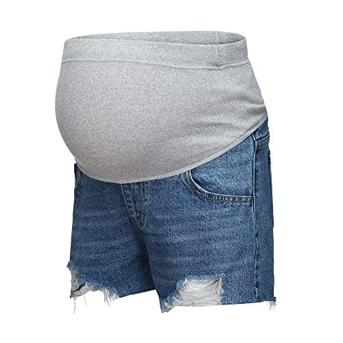 Damen Umstandsmode Destroyed Jeans Umstandsshorts Kurze Schwangere Jeanshose Mutterschaft Umstandsleggings Sommer Umstandsjeans Cargo Umstandshosen Skinny Quaste Schwangerschaftshose