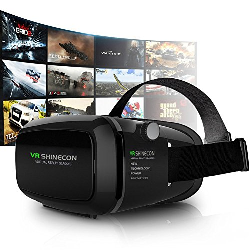 Shinecon VR Headset 3D BrilleVirtuelle Realität Headset Virtual Reality Cardboard Verstellbare Linse und Objektivabstand 3D Video,Filme,Spiele 3.5 ~ 6 Zoll Smartphones. Android IOS Iphone Samsung Galaxy Mega 2 / Galaxy Note 4 / Galaxy Note 3 / Galaxy S6 Edge / Galaxy S6 / iPhone 6 / iPhone 6 Plus / LG G3 / SONY Experia T2 Ultra / Xperia Z3 + / MOTO Nexus 6 / HTC One Max / Wunsch 816 / Die M9 / ASUS Zenfone 2 usw Google Pappkarton Oculus Rift Head Mounted Stirnband
