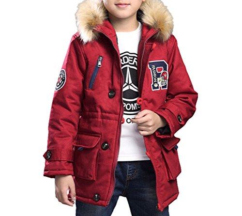 MILEEO Kinder Jungen Lange Winterjacke mit kapuze Wintermantel Mantel Parka Outerwear Oberbekleidung Winter Kleidung Kinderjacke, EU 152-158/Asia 160, Rot