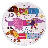 CHIYEEE Runde Strandtuch Comic-Hund Quaste Strand Yoga Matten Schal Schal Tapestry Tischdecke Picknickdecke Schal 148cm*148cm (58