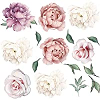 Ongwish 2Pcs Peony Rose Flowers Wall Sticker Waterproof Removable Peony Stickers Romantic Floral Wall Decals Art Nursery Decals Kids Room Living Room Home Decoration, 23.6 * 23.6 inch