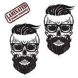 2 Stück Vinyl Aufkleber Autoaufkleber Skull Schädel Modern Bart mit BrilleTotenkopf Funny Horror Stickers Auto Moto Motorrad Fahrrad Helm Fenster Tür Tuning B 366