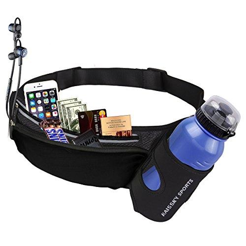 Guzack Marsupio Running Cintura Corsa, Risparmio di Spazio Cintura Porta Soldi Marsupio Sportivo con 2 Tasche, per Escursionismo Casuale Bicicletta Nera per iPhone 7/7 Plus (Nero)