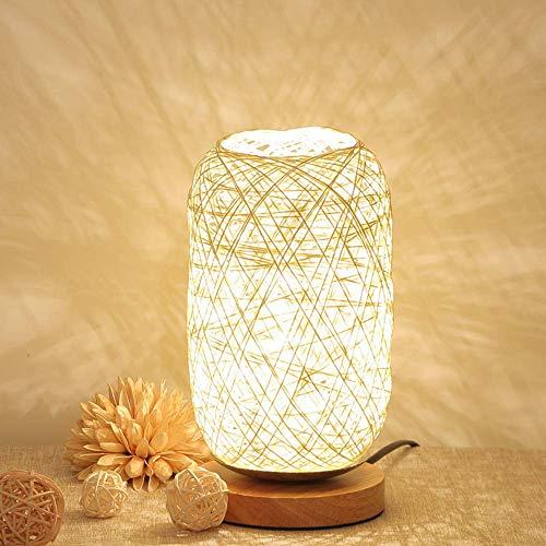 CCLAY In der Lage Lampe Holz Rattan Schnur Kugel Lichter Tischlampe Zimmer Home Art Decor Schreibtisch Licht (Braun) Kreative dimmbar,White - Wanne-geschenk-korb
