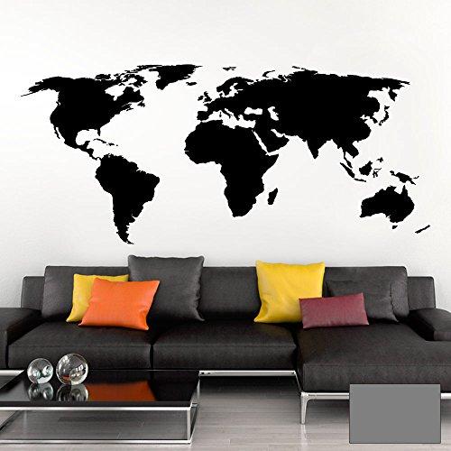 Grandora Wandtattoo Weltkarte Erde Globus Karte I Mittelgrau 200 x 87 cm I Welt Atlas Schlafzimmer Wohnzimmer Wandsticker Wandaufkleber W698