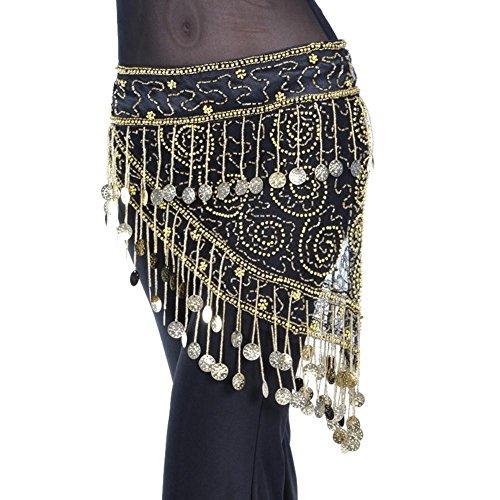 Frauen Bauchtanz Hip Schal Schals Wrap Dreieckig 150 Gold Münze Tüll Dangling Sequins Taille Kette Gürtel . Gold . F