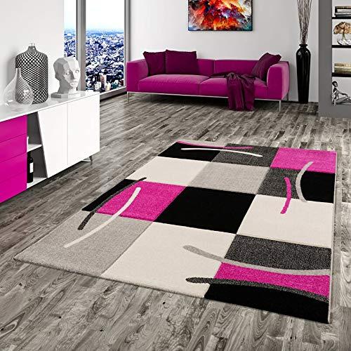 Pergamon Designer Teppich Maui Schwarz Pink Karo in 5 Größen - Pink Schwarz Karo
