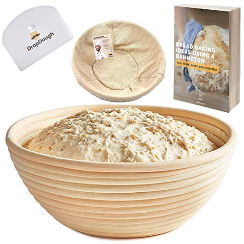 Large Banneton Proving Basket | 10 inch 25cm | Round Bread Proofing Basket | Natural Rattan Sourdough Proving Basket| FREE EBOOK | Premium Quality Proofing | Bread Proving Bowl | Brotform for Artisan Bread | Fruit Bowl | FREE EXTRAS