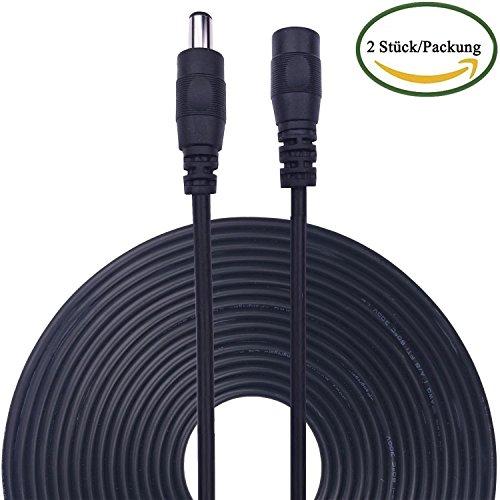 Kabenjee 2x 10m/33ft DC-Netzteil-Verlängerungskabel,5.5mm x 2.1mm DC Verlängerung Verbinder Draht für LED Streifen-CCTV-Überwachungskameras-Auto,Monitore-Ip Kamera DVR,AHD Überwachungskamera Systeme - Draht-standard-licht-schalter