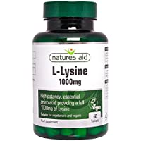 Natures Aid L-Lysine, 1000 mg, 60 Tablets (High Potency Essential Amino Acid, Made in the UK, Vegan Society Approved)