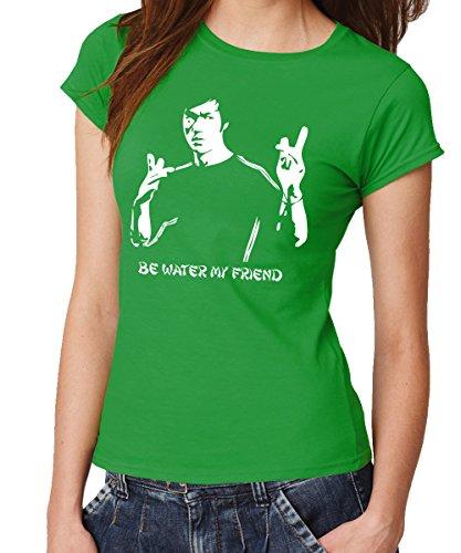-- Be Water -- Girls T-Shirt Kelly Green, Größe XXL Green Dragon Kung Fu