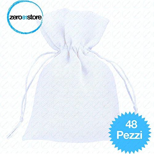 zero81store® 48 sacchetti di Juta bianchi per bomboniere confetti compleanni matrimonio stile shabby chic