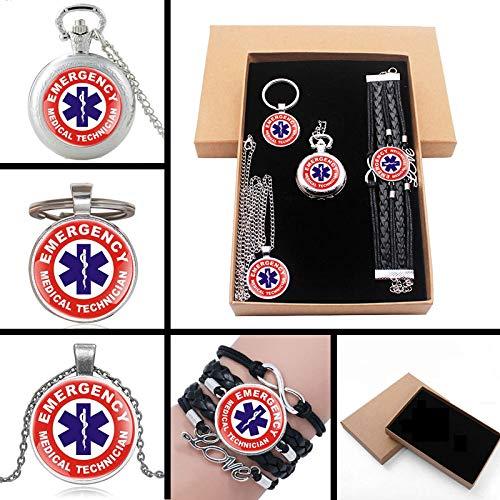 HELBOD Orologio da tasca New Fashion ClassicEmergency Medical Technician Paramedic Badge Jewelry Set regalo con confezione regalo Orologio da tasca chiave Chian, argento