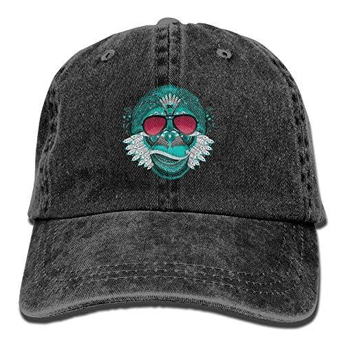 Hoswee Unisex Kappe/Baseballkappe, Monkey Yoga India Denim Hat Adjustable Male Dad Baseball Hat