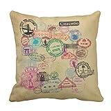 emvency manta funda de almohada vintage pasaporte sellos decorativos funda de almohada de viaje decoración para el hogar cojín cuadrado funda de almohada