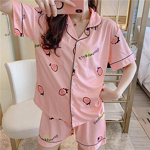 Home + pajamas Ladies 'Home Wear_Pyjamas Koreanische Kurzarm Strickjacke Cartoon Casual XL Frauen Sommer @ Striped Strawberry_M -