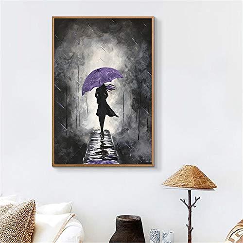 adgkitb canvas Abstrakte Wandkunst Retro Regen Lila Regenschirm Mädchen Canva Wandbilder Für Wohnzimmer Room 40x60cm KEIN Rahmen